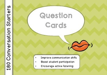 180 Question Cards: Conversation Starters Task Cards