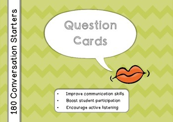 180 Question Cards: Conversation Starters Task Cards (Brit