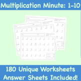 180 UNIQUE SHEETS! Multiplication Minute Worksheets (Numbers 1-10)