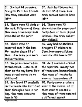 180 Word problems for 2nd grade-for morning work, centers, etc.