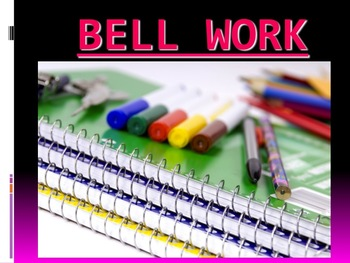 180 slides of Daily Bell work/Warmups/Bell Ringers for English answer key ONLY