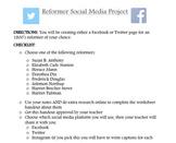 1800's Reformer's Social Media Project