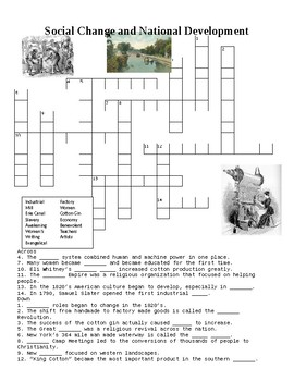 1800's Social Changes and National Development Crossword o