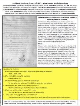 1803 Louisiana Purchase Treaty Document Analysis Activity