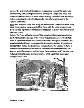 1816 Year without a Summer - lesson informational article questions etc.