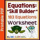 183 Equations to Build Equation Skills PDF Worksheet Pre-A