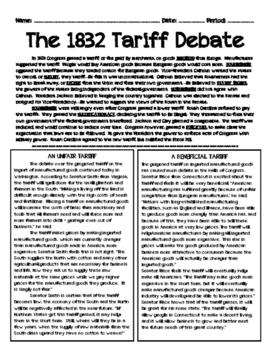 Nullification Crisis: 1832 Tariff Debate