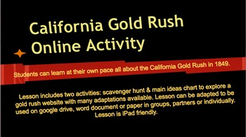 1849 Gold Rush Online Activity