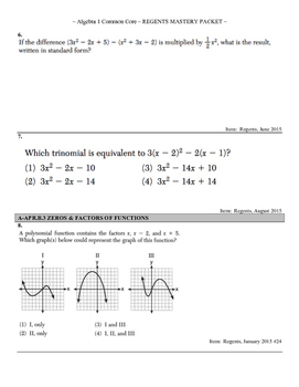 185+ Question CCLS Algebra 1 Regents Review Packet, Sorted by Standard