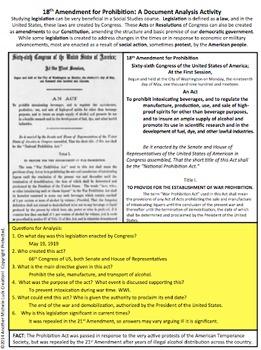 18th Amendment Prohibition Document Analysis Activity