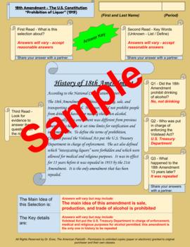 "18th Amendment - ""Prohibition of Liquor"" - Enhanced DBQ - Close Read (PDF)"