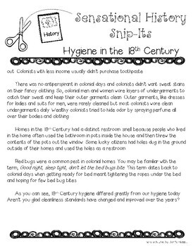 18th Century Hygiene - Sensational History Snip-Its Series