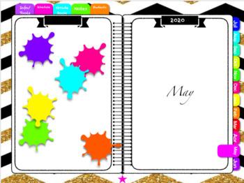 19/20 Digital Lesson Planner (Black, Gold, Bright)
