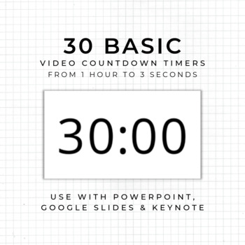 19 Countdown Timers (Style 1) - For use in PowerPoint, Google Slides, Keynote