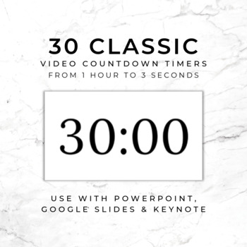 19 Countdown Timers (Style 2) - For use in PowerPoint, Google Slides, Keynote