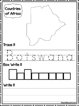 19 Countries of Africa Worksheets Geography Curriculum.