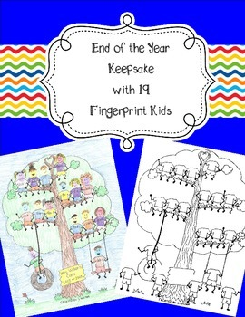19 Fingerprint Kids End of the Year and Autograph Memory Page