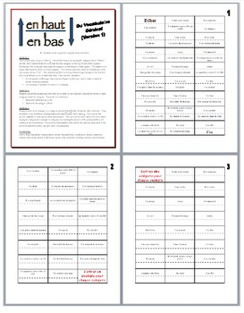 19 French Vocabulary and Verb Form Partner Activities (En Haut En Bas)