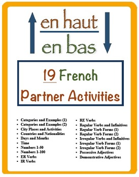 19 French Vocabulary and Verb Form Partner Activities (En