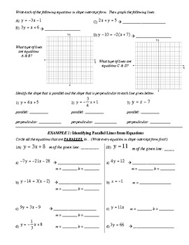 19) Guided Notes: Parallel and Perpendicular Lines (to accompany PPT lesson)