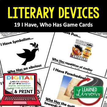 ELA Literary Devices I Have, Who Has Game Cards