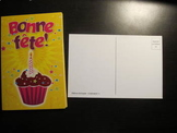 19 BONNE FETE birthday postcards FRENCH cards cupcake candle Shipping included