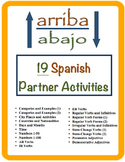 19 Spanish Vocabulary and Verb Form Partner Activities (Arriba Abajo)