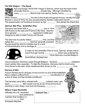19 - World War I and Beyond - Scaffold/Guided Notes (Blank and Filled-In)