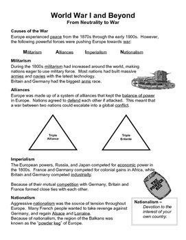 19 - World War I and Beyond - Scaffold/Guided Notes (Filled-In Only)