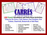 190 French Vocabulary and Verb Form Activities (Do Nows, Fast Finishers)