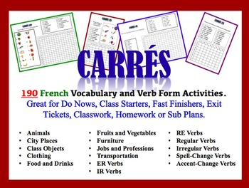 190 French Vocabulary and Verb Form Activities (Do Nows, F