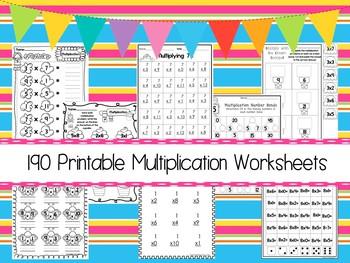 190 Multiplication Math Worksheets Download.  ZIP file. 2nd-4th Grade Math