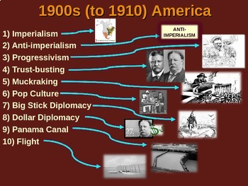US HISTORY -1900s-1910 America - visual, textual, engaging 50-slide PPT