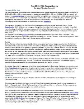 1906 Atlanta Georgia Race Riot/ Urban Riot Document / Assignment