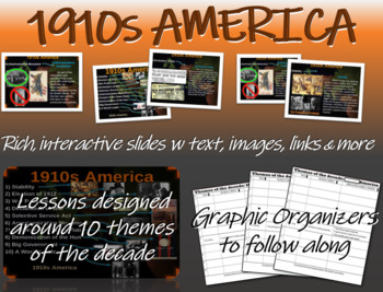 US HISTORY -1910s America - visual, textual, engaging 31-slide PPT