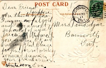 1911 Postcard - The Joys of Friendship. Used with a franked 1 cent stamp