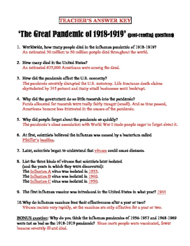 1918-19 Influenza Pandemic Reading with Questions