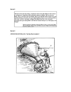 1920's Document Based Extended Response Assessment
