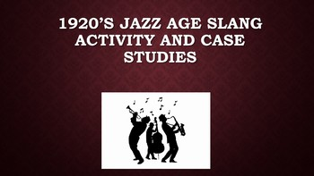 1920's Jazz Age Slang Activity and Case Studies