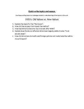 1920's Old Values v. New Values Writing Topics and Essay Questions