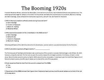 1920's Reading and Questions