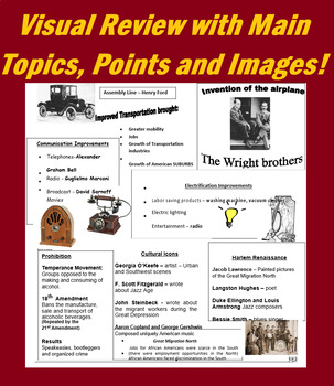 1920's Review- Study Guide Questions, Review Notes, Kahoot and more!