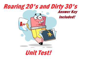 1920's and 1930's UNIT TEST- Answer Key Included!