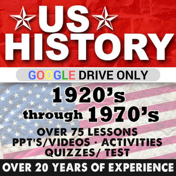 1920's to 1970's US History Second Semester Bundle GOOGLE DRIVE ONLY