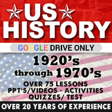 1920's to 1970's US History Second Semester Bundle GOOGLE