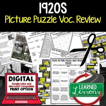 1920S Picture Puzzle Unit Review, Study Guide, Test Prep