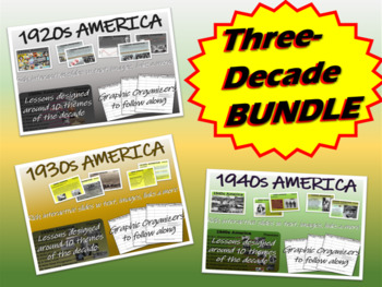 U.S. HISTORY 1920s, 1930s, 1940s 3-unit bundle 51, 51, & 42-slides