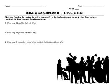 "Activity: Music Analysis - 1920s & 1930s ""Roaring Twenties & Great Depression"""