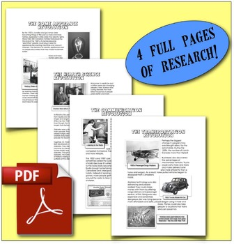 CHC2P CHC2D 1920s & 1930s: New Technologies