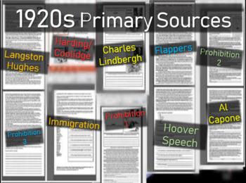 1920s TEN primary source common core docs (Flapper Capone Lindbergh Hughes more)